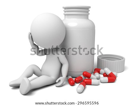 3d man and lots of pills. 3d image. Isolated white background. - stock photo