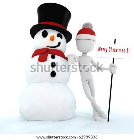 3d man and snow man , merry christmas ! - stock photo