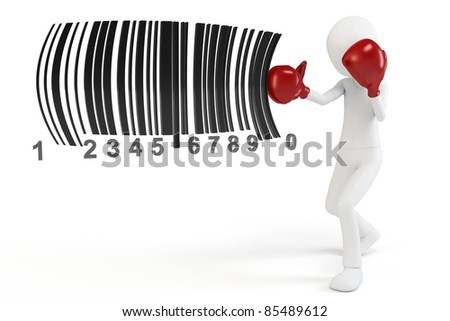 3d man boxing  barcodes concept on white background