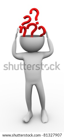 3d man brainstorming and searching for new ideas - stock photo