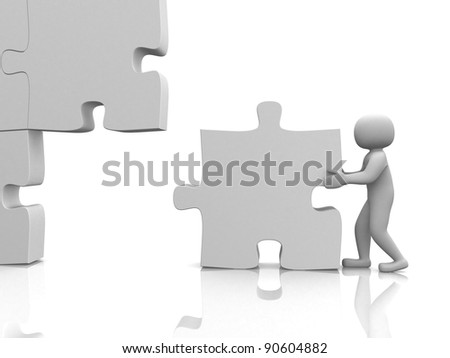 3d man building a 3d puzzle over white. This is a 3d render illustration - stock photo