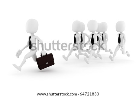 3d man, business man chased by some other 3d men - stock photo