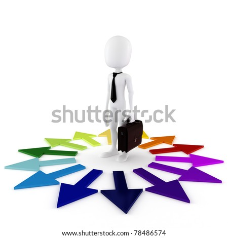 3d man business man wondering what to do next - stock photo