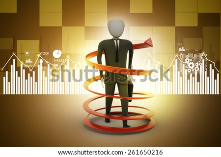 3d man business success concept - stock photo