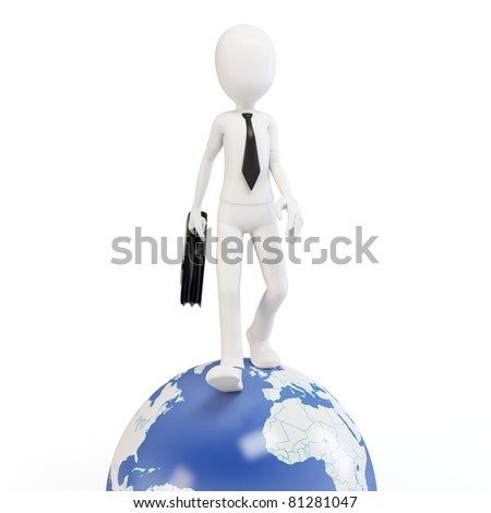 3d man business walking on earth globe isolated on white - stock photo