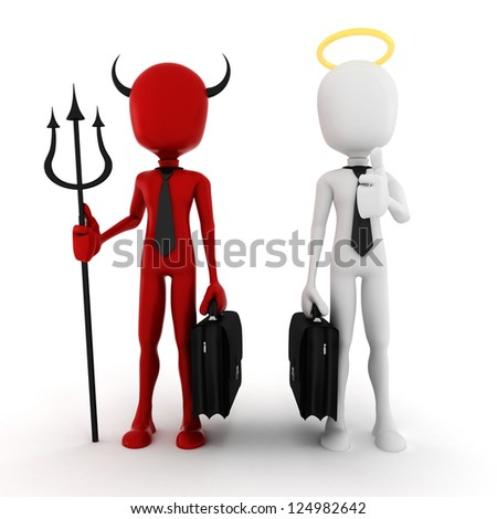 3d man businessman angel and demon - stock photo