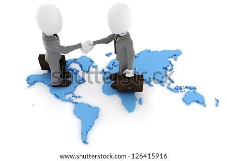 3d man businessman global partnership - stock photo