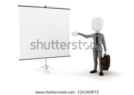 3d man businessman in front of a blank  canvas - stock photo