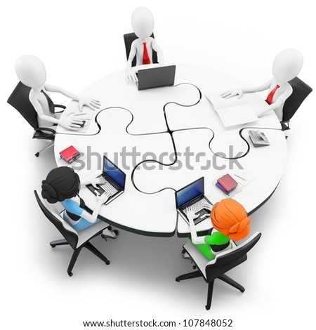 3d man businessman meeting at a round table made of puzzle - stock photo