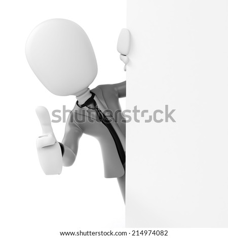 3d man businessman standing behind a blank board
