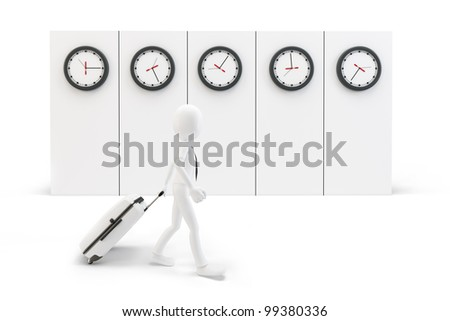 3d man businessman with a trolley suitcase passing time zones concept - stock photo