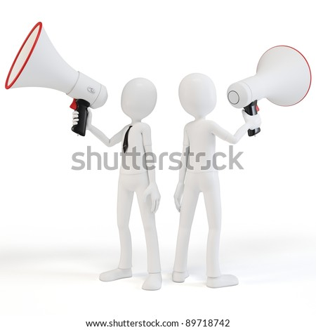 3d man businessman with megaphone speaking loud isolated on white