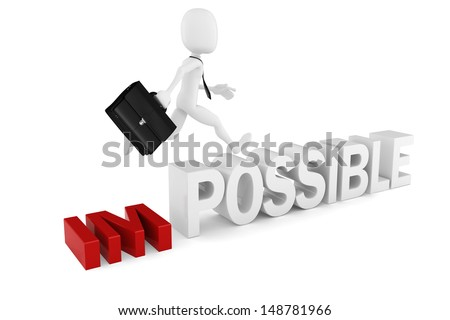 3d man businessman with positive attitude - stock photo