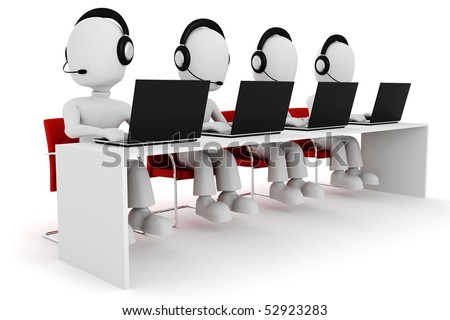 3d man, call center - stock photo