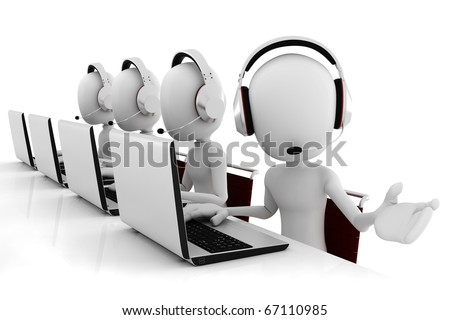 3d man call center - stock photo
