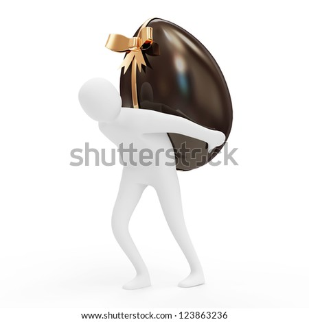 3d Man Carrying Chocolate Easter Egg isolated on white background