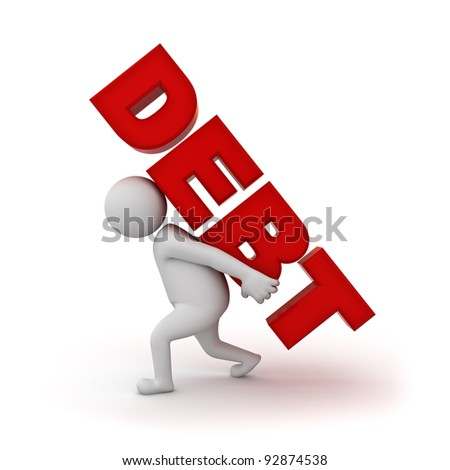 3d man carrying word debt on his back isolated on white background - stock photo
