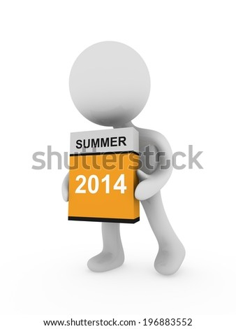 3d man cary a box with summer box - stock photo