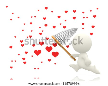 3D man catching hearts with a net - isolated over a white background - stock photo