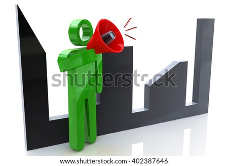 3d man character talking in a megaphone with cityscape on the background.3D Illustration - stock photo