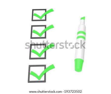 3d man checklist  correct - stock photo
