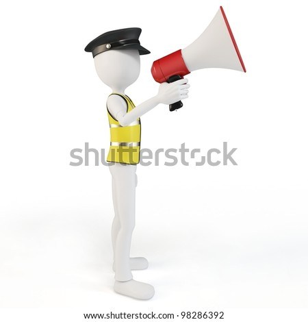 3d man chief with megaphone speaking to the crowd on white background - stock photo