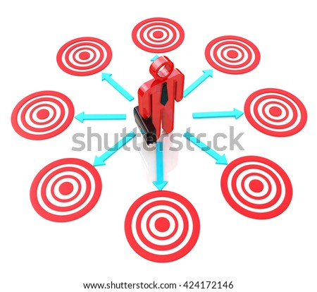 3d man chooses a target for the design of the information related to the business objectives.  3d illustration - stock photo
