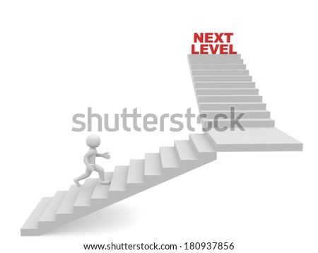 3d man climbs the ladder of next level - stock photo