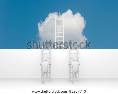 3d man climbs the ladder of success and a virtual career - this is a 3d illustration - stock photo