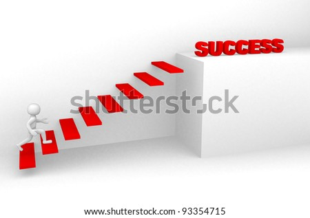 3d man climbs the ladder of success - 3d render - stock photo