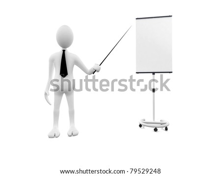 3d man conference - stock photo
