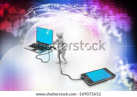 3d man connecting laptop and mobile - stock photo