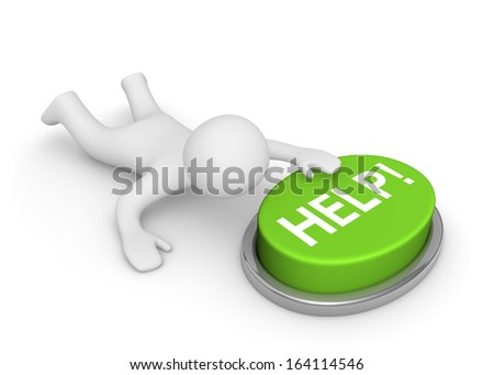 3d man crawling to the help button - stock photo