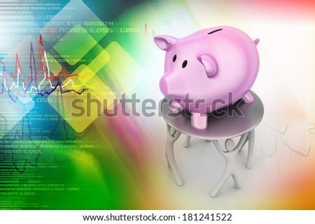 3d man crowd around pink piggy money bank - stock photo