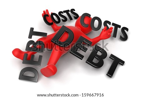 3d man crushed by concept debt and costs (clipping path included) - stock photo