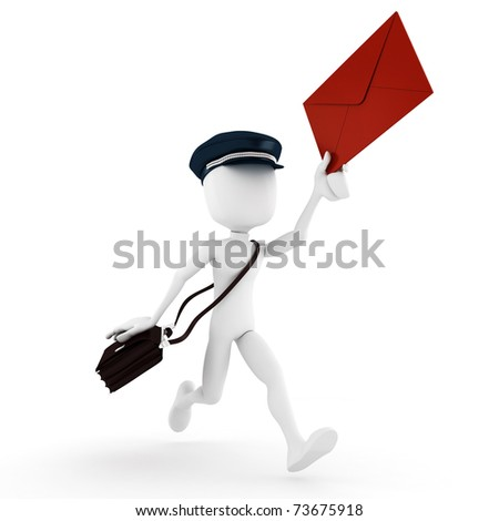 3d man delivering the mail - stock photo
