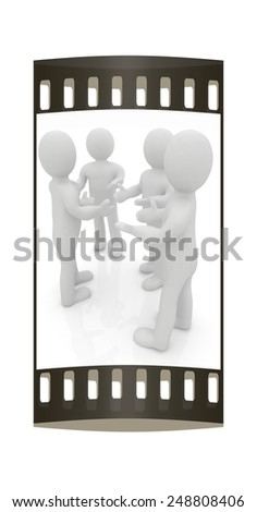 3d man. Discussion on a white background. The film strip - stock photo
