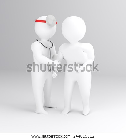 3D man doctor and patient  medical concept