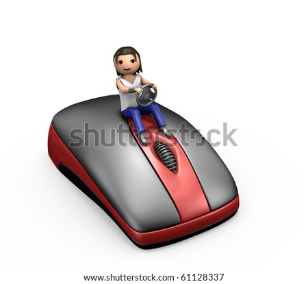 3d Man Driving a PC Mouse Looking at Viewer - stock photo