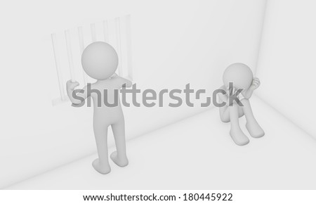 3d man feel depressed in cell - stock photo