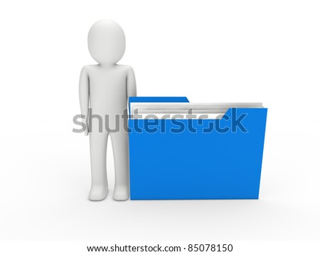 3d man file blue folder document business