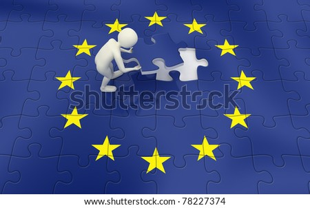 3d man finalizing the European Union flag puzzle with the final piece - stock photo