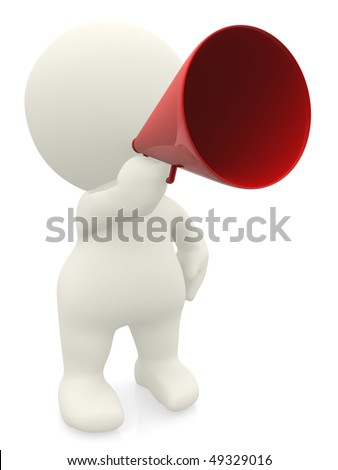 3D man giving an announcement isolated over white - stock photo