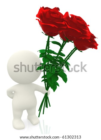 3D man giving red flowers - isolated over a white background - stock photo