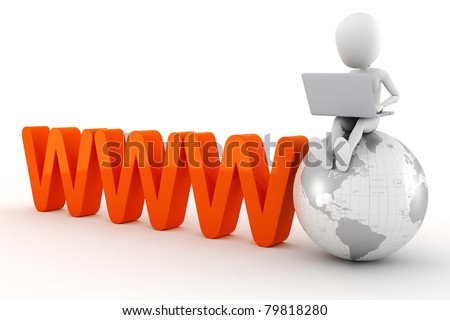 3d man global business - stock photo