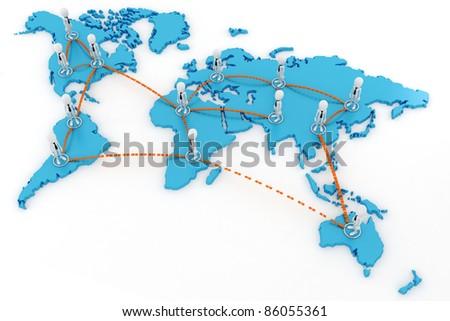3d man global business concept - stock photo