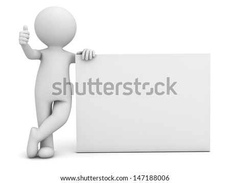 3d man hand showing thumbs up sign with blank board isolated over white background - stock photo