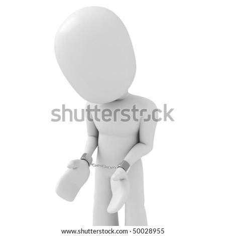 3d man handcuffed - stock photo