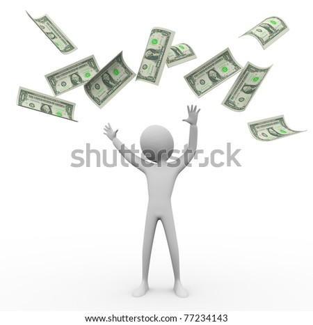 3d man happy with money rain