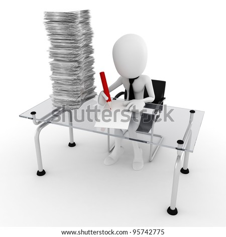 3d man hard working at his desk - stock photo